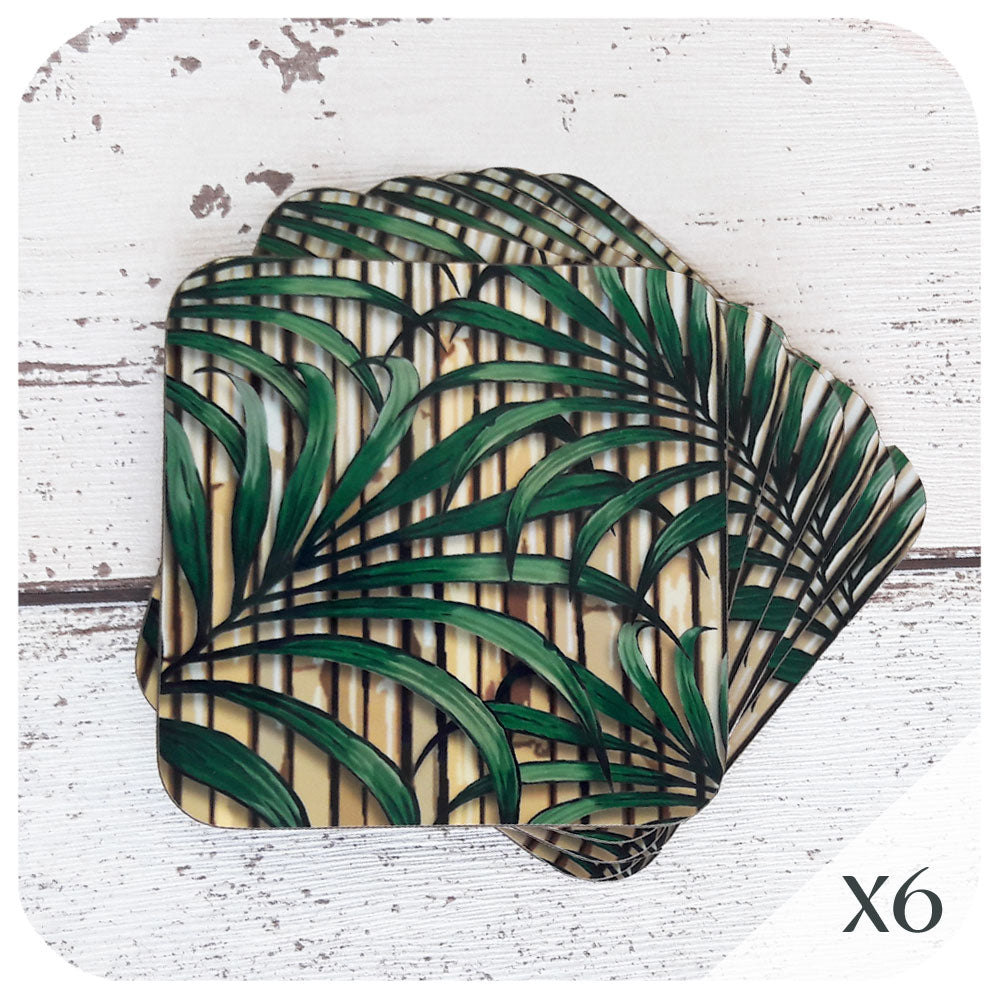 Tropical Palm Tree and Bamboo Coasters, set of 6 | The Inkabilly Emporium