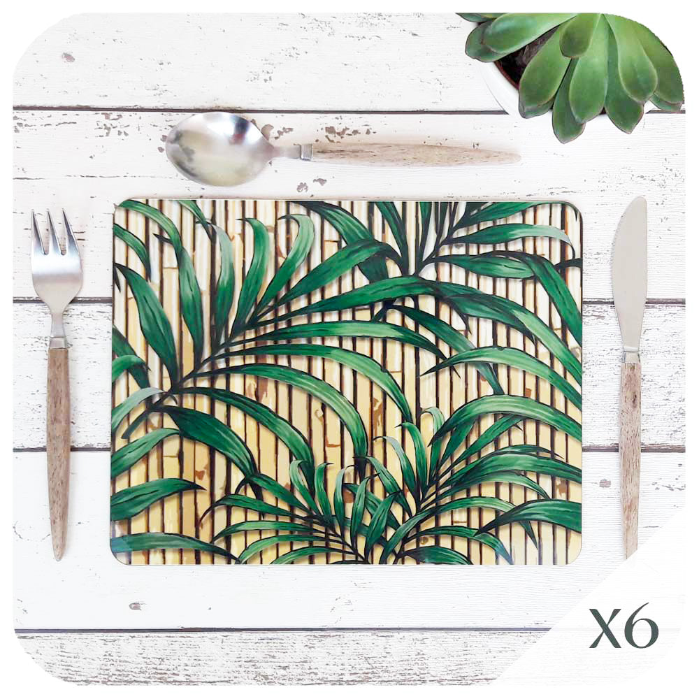 Tropical Palm Leaf Placemats, set of 6 | The Inkabilly Emporium