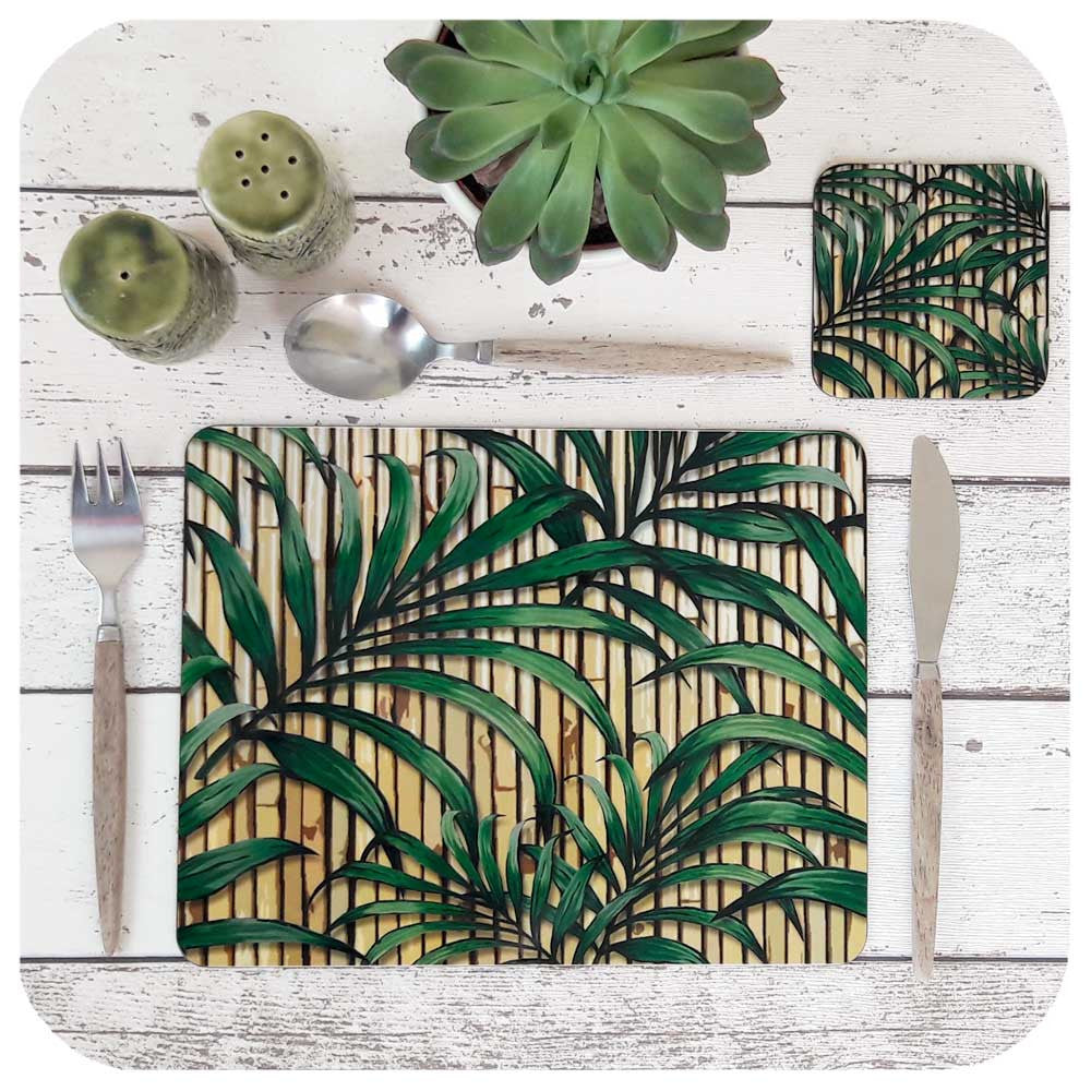 Tropical Palm Leaf Placemat and Coaster Set | The Inkabilly Emporium