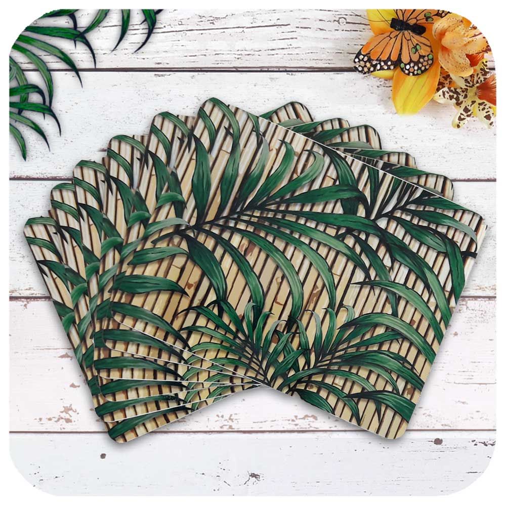 Set of 6 Tropical Palm Leaf on Bamboo Place Mats | The Inkabilly Emporium