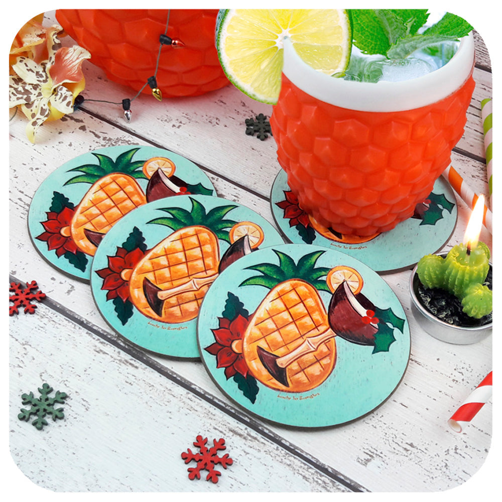 Tiki Christmas Coasters, set of four with retro cocktail | The Inkabilly Emporium