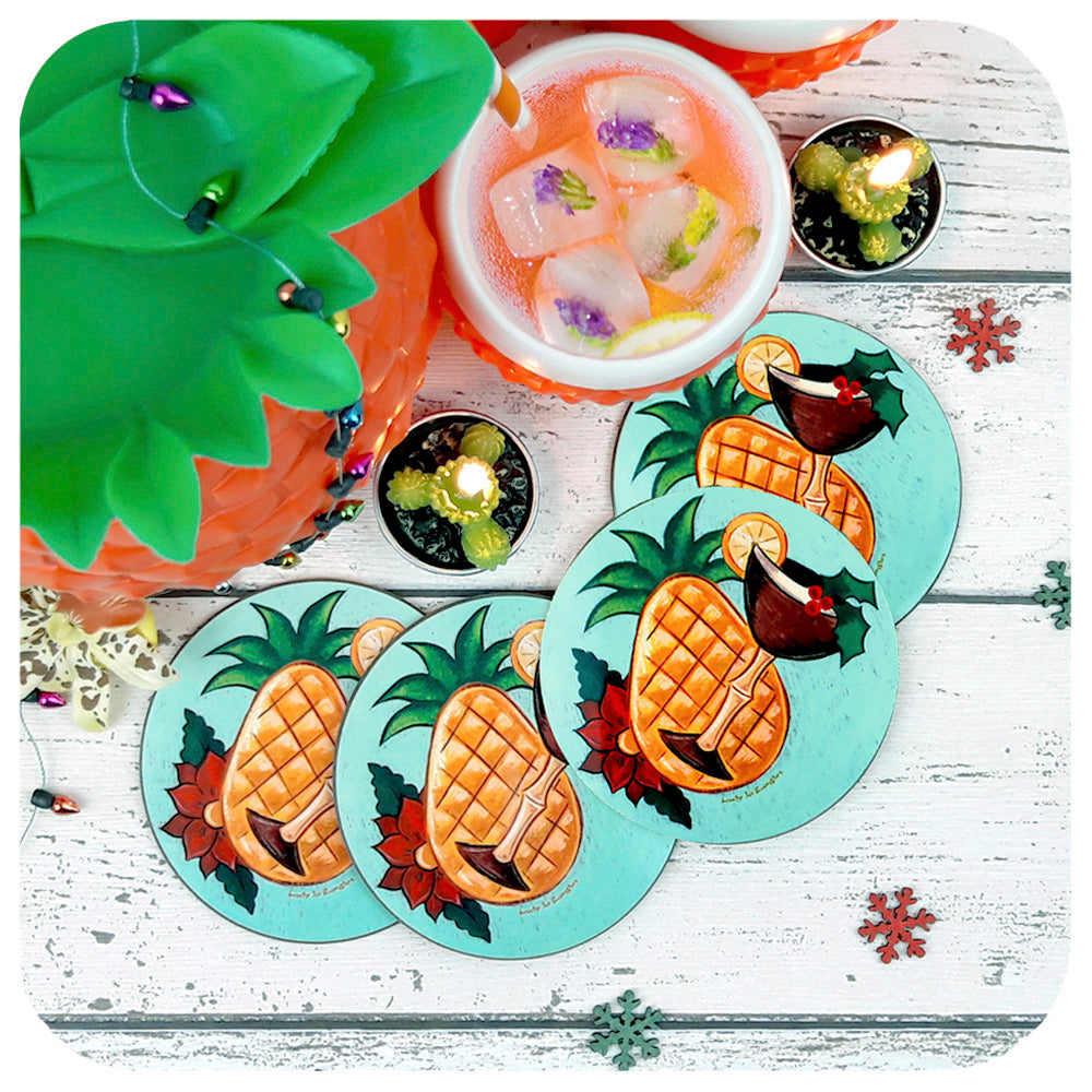 Retro Tropical Christmas Coasters with vintage cocktail serving set | The Inkabilly Emporium