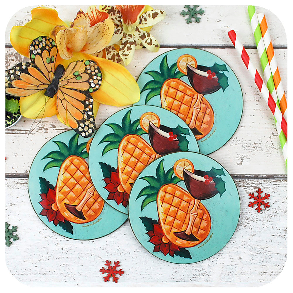 Tropical Tiki Christmas Coasters, Set of 4 | The Inkabilly Emporium