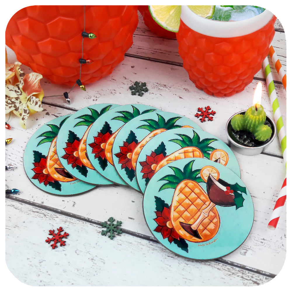 Tropical Tiki Christmas Coasters, set of 6, with retro cocktail | The Inkabilly Emporium & LadyJo Bangles