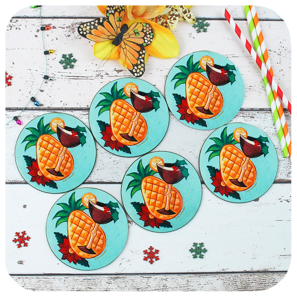 Vintage style Tropical Christmas Coasters | The Inkabilly Emporium & LadyJo Bangles