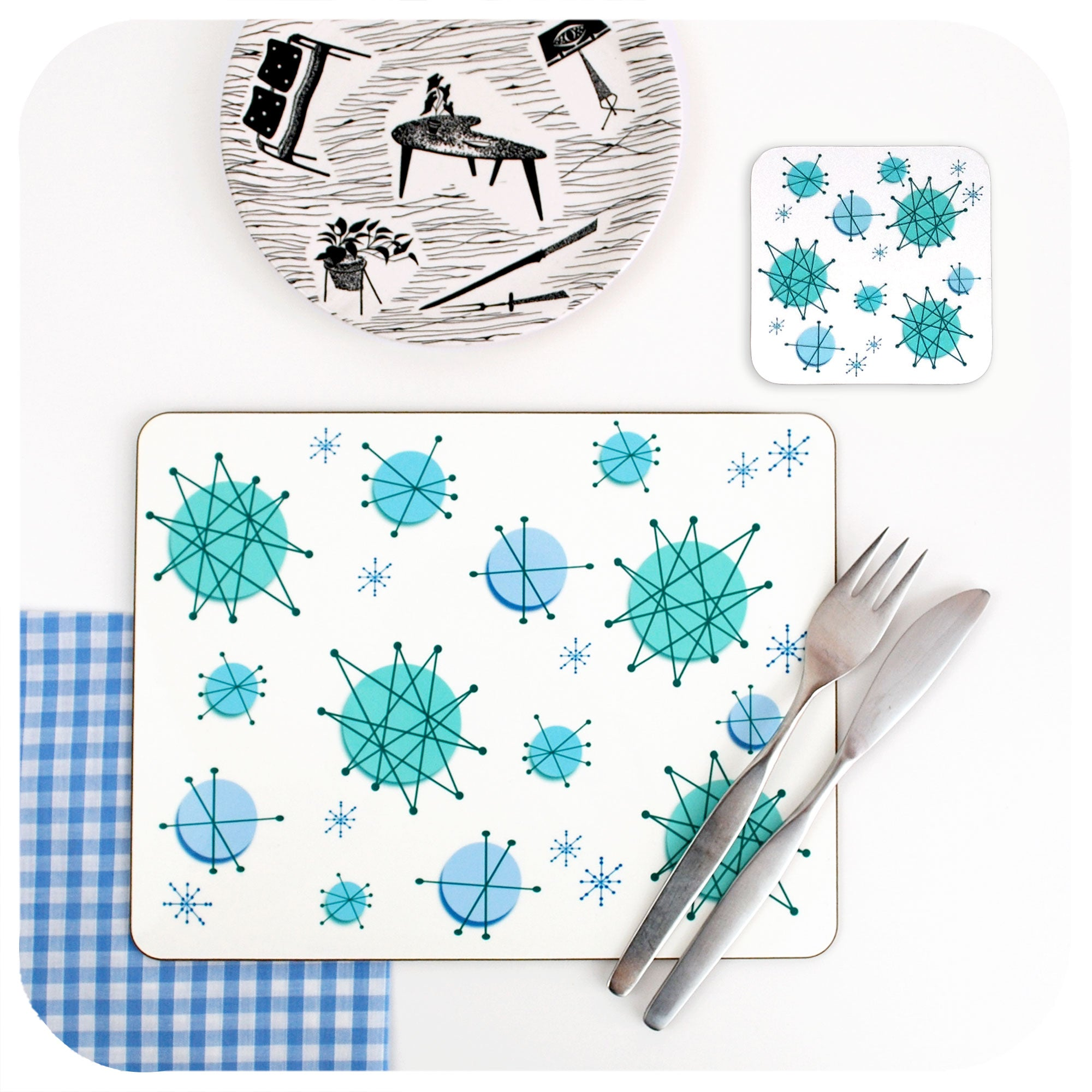 Atomic Starburst Placemat & Coaster | The Inkabilly Emporium