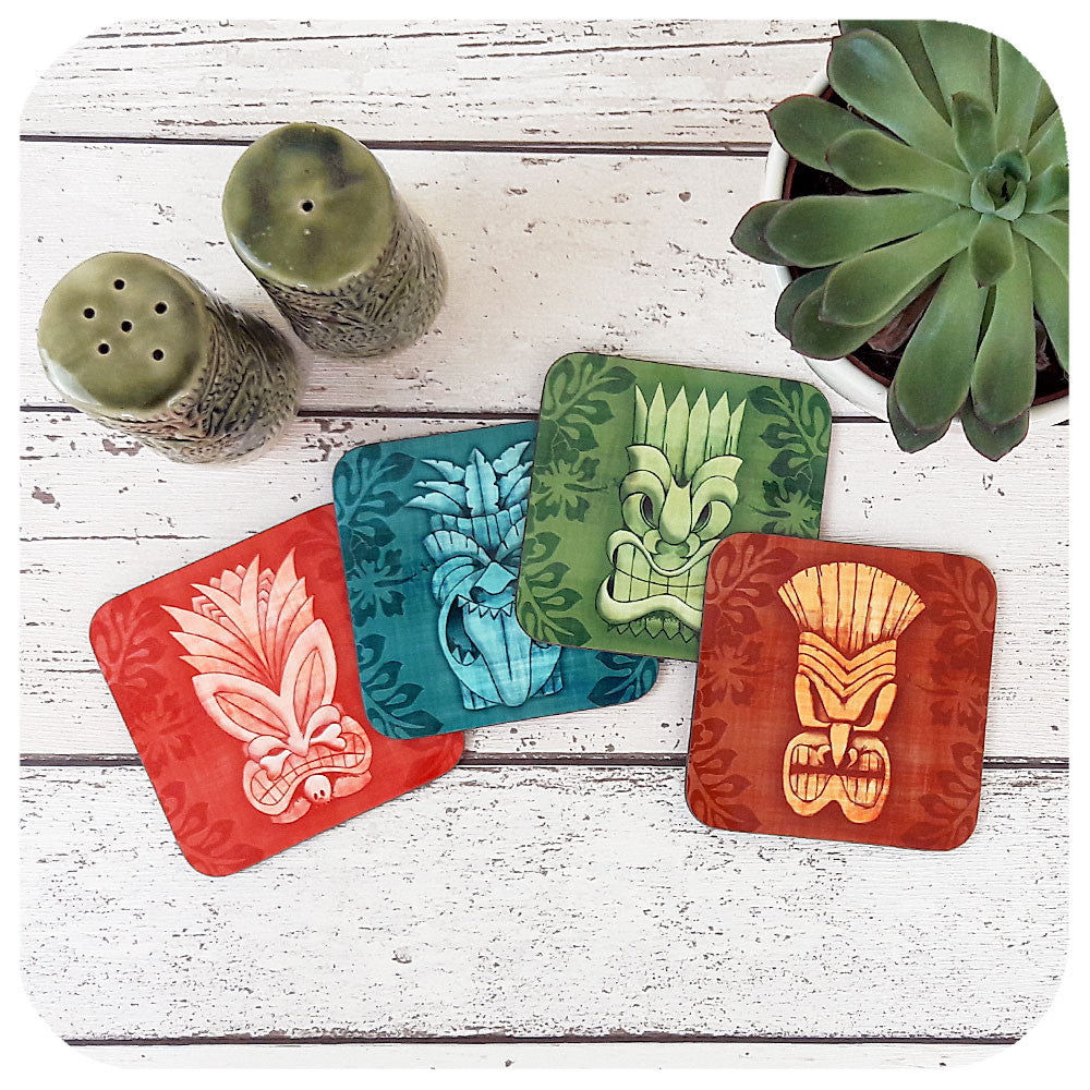 Tiki Mask Coasters, four different Tikis in each set | The Inkabilly Emporium
