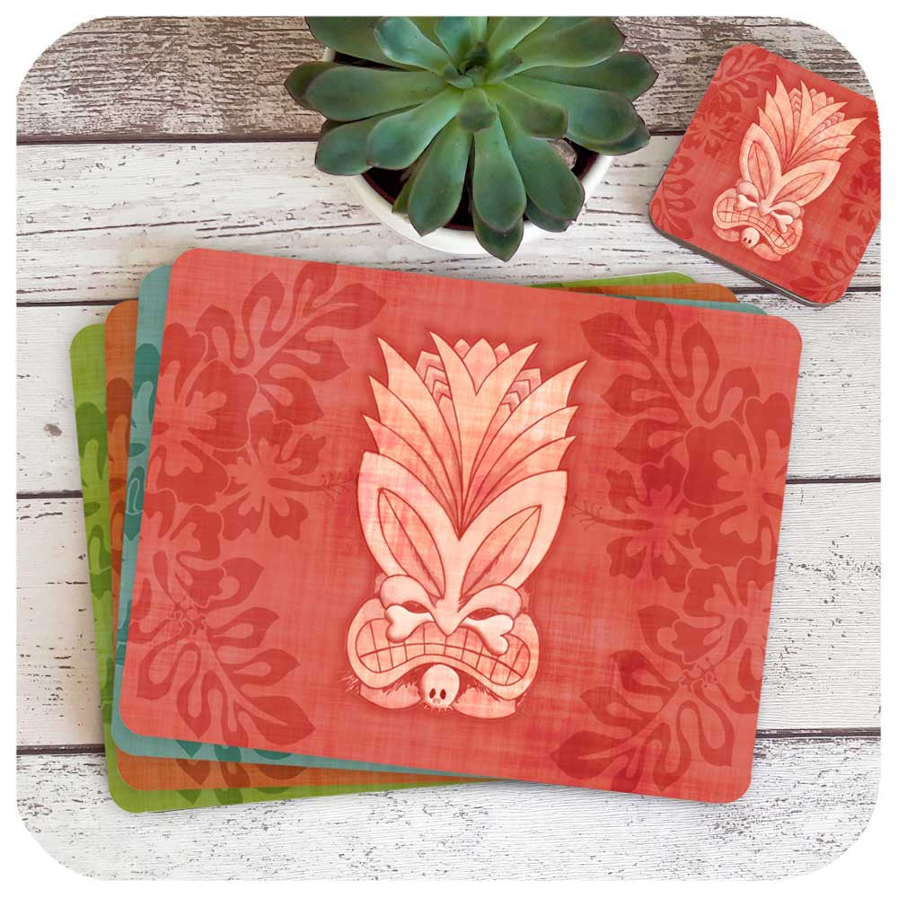 Tiki Mask Placemats with matching coasters | The Inkabilly Emporium