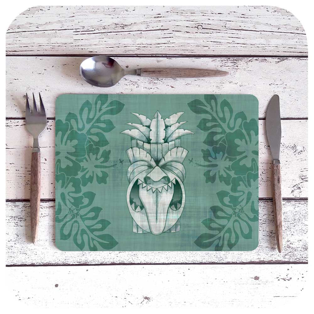 Blue Tiki Placemat | The Inkabilly Emporium