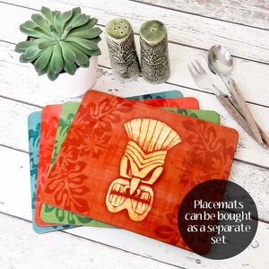 Blue Tiki Mask Placemat & Coaster Set | The Inkabilly Emporium