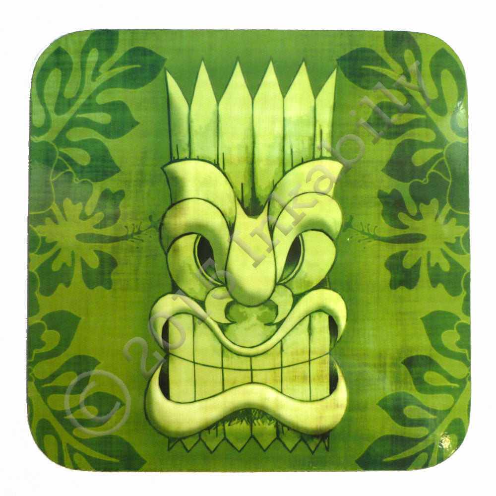 Green Tiki Mask Coaster by Inkabilly