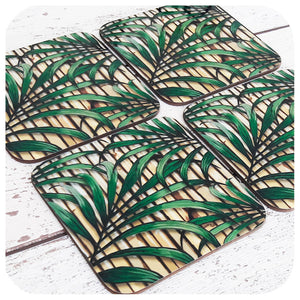 Tropical Palm Leaf Coasters, set of four | The Inkabilly Emporium