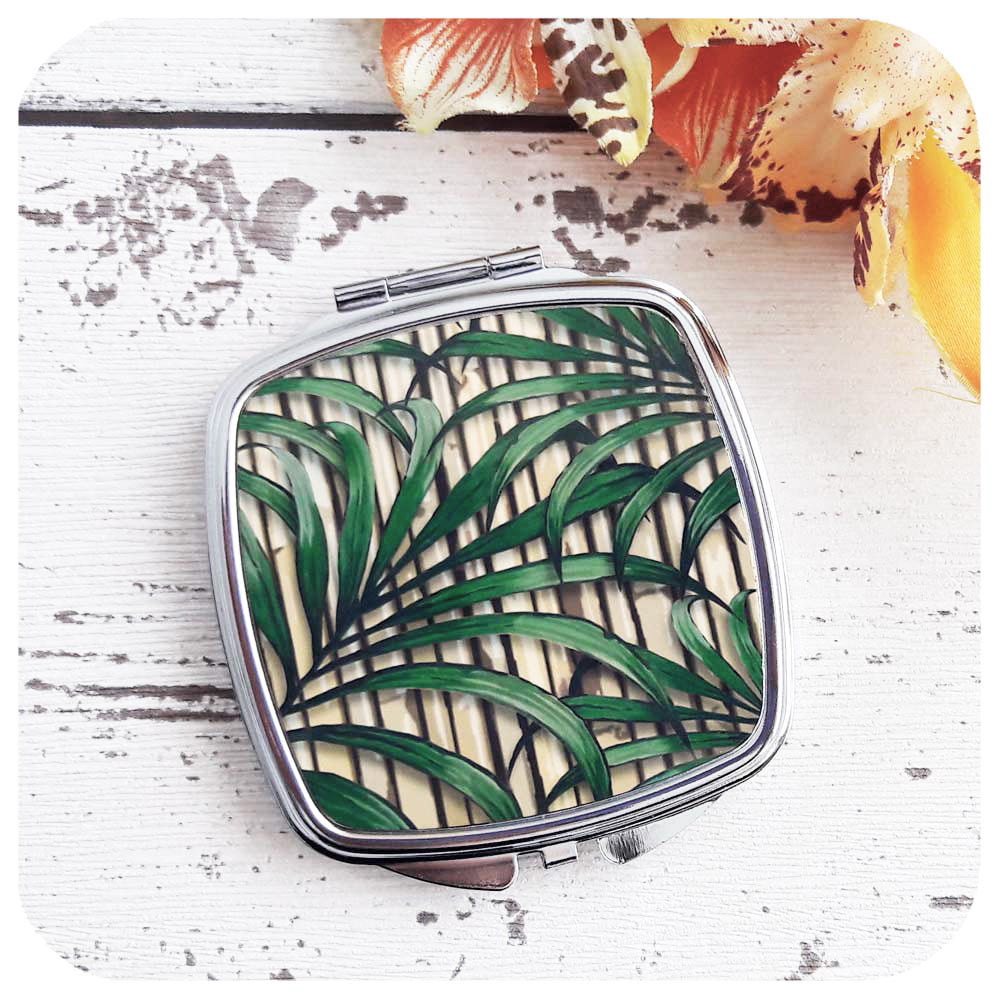 Botanical, Tiki Style Compact Mirror | The Inkabilly Emporium