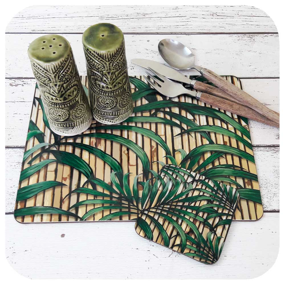 Tropical Palm Leaf table setting. Matching Placemat & Coaster  | The Inkabilly Emporium