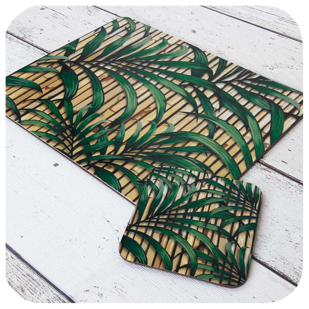 Retro Tiki Style Palm Leaf Placemat and matching Coaster  | The Inkabilly Emporium