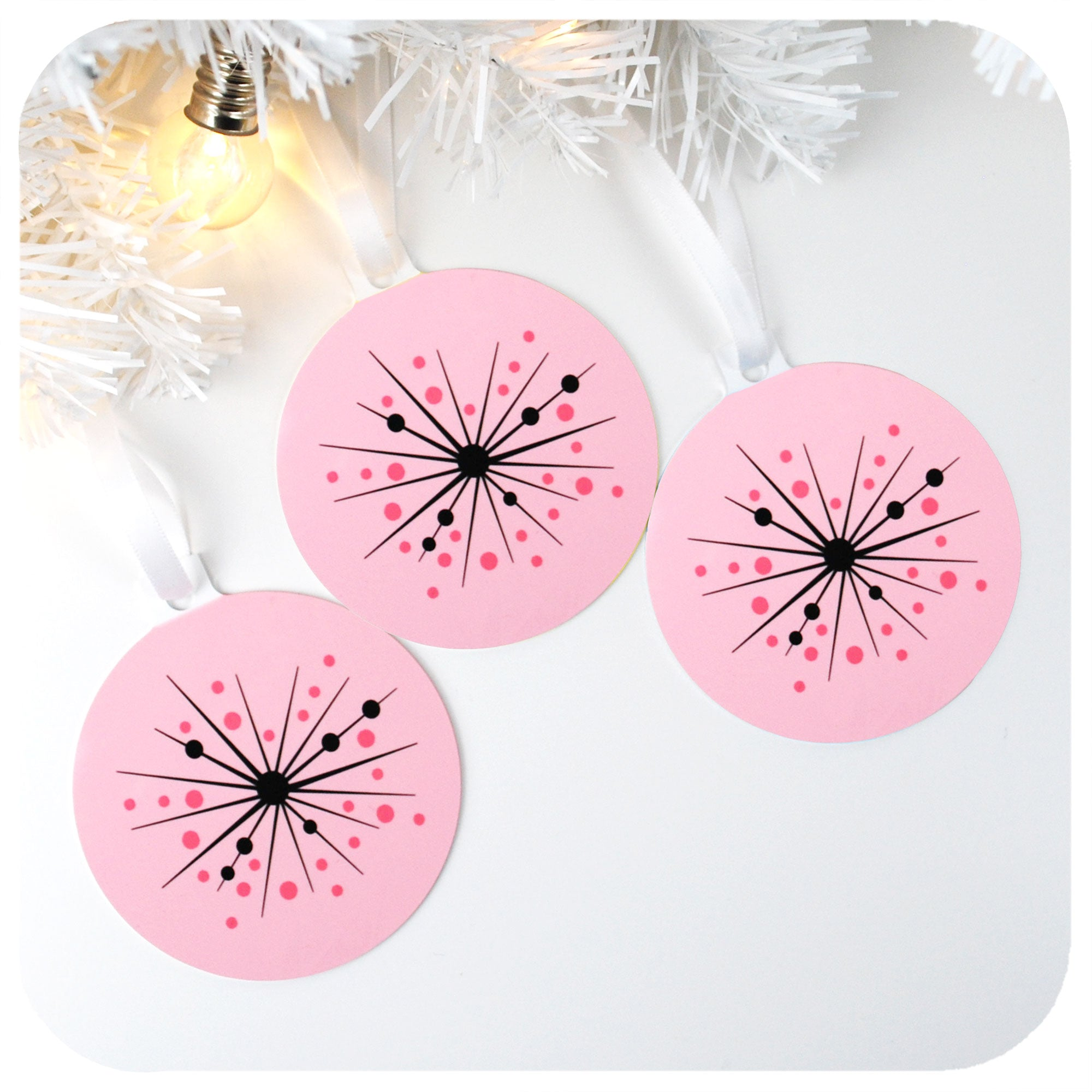 Set of 3 Pink Atomic Starburst Christmas Decorations | The Inkabilly Emporium