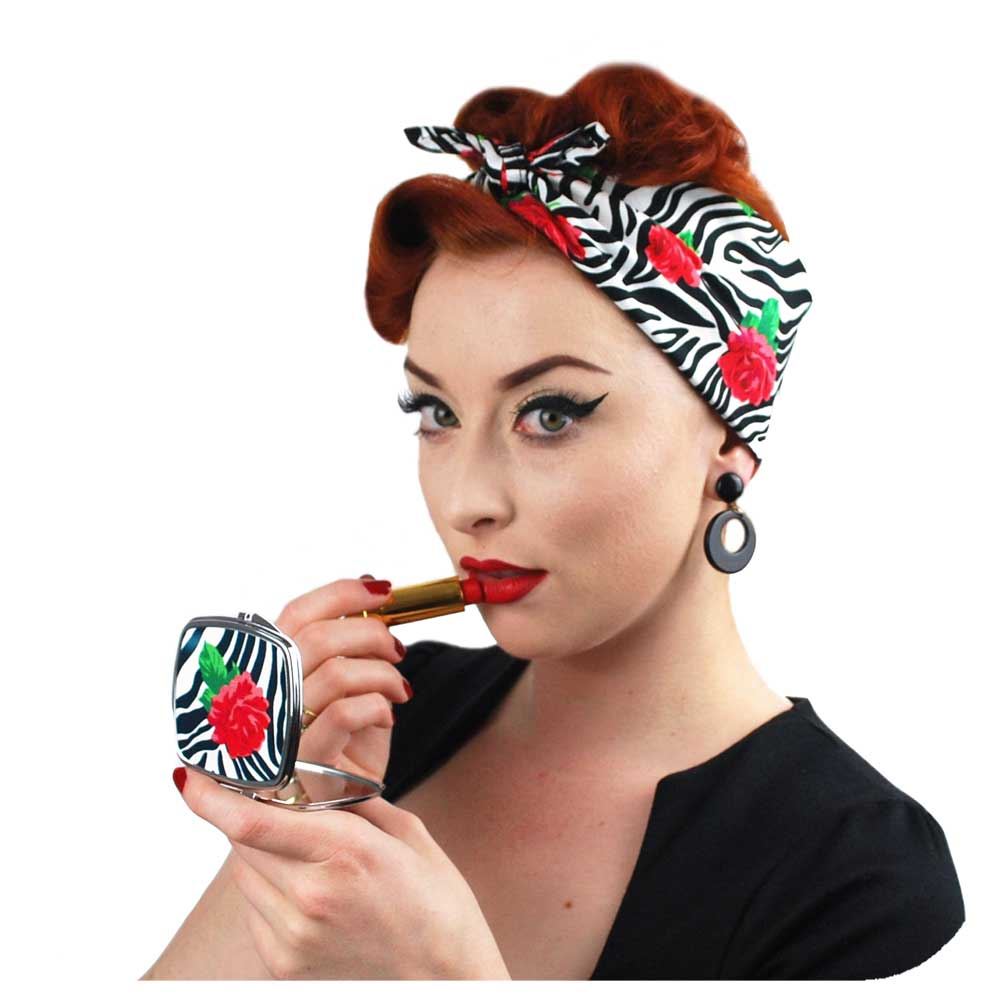 Zebra Rose Bandana with matching compact mirror - great Rockabilly Gift! | The Inkabilly Emporium