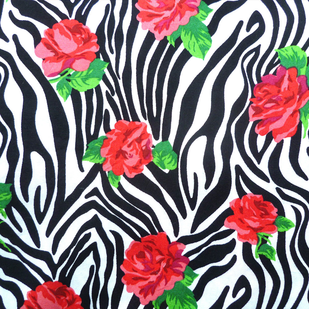 Zebra Rose Print Cotton detail | Zebra Rose Bandana | The Inkabilly Emporium