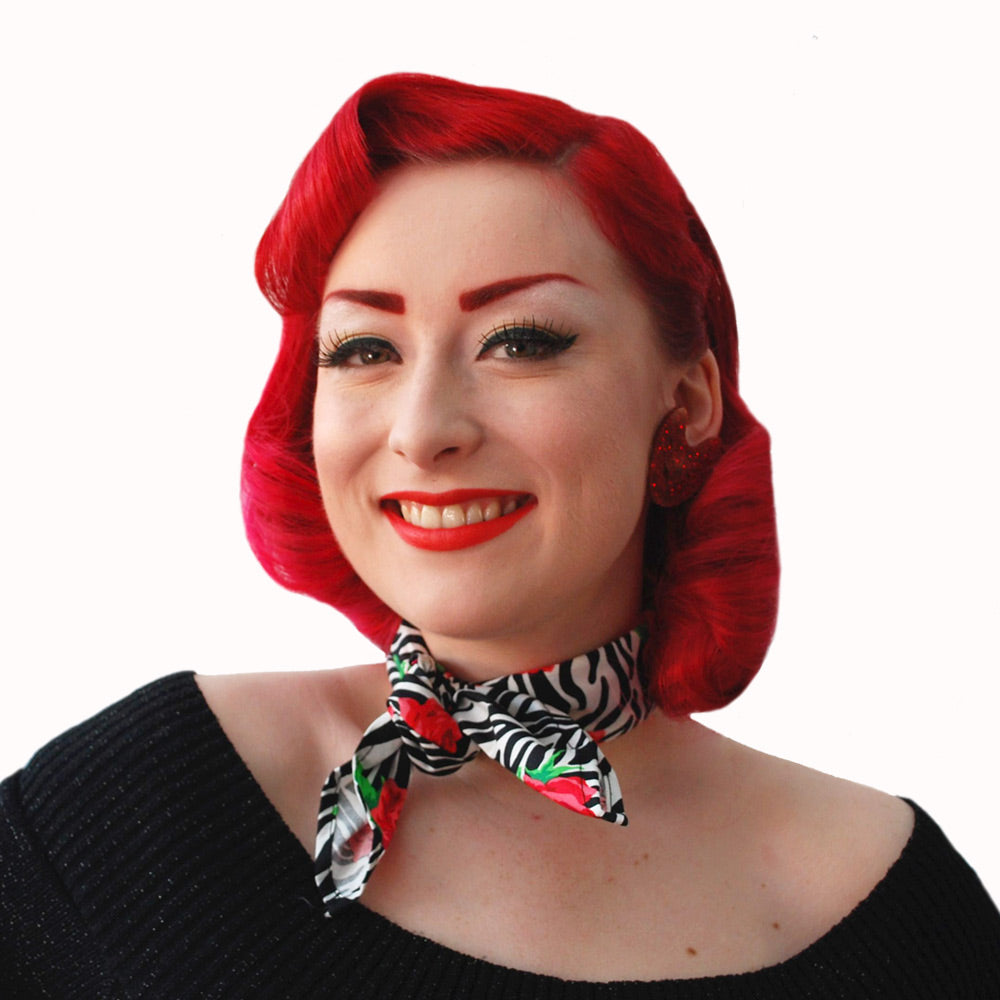 Zebra Rose Bandana worn as a necktie | The Inkabilly Emporium
