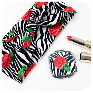 Zebra Rose Gift Set - matching headscarf & compact mirror | The Inkabilly Emporium
