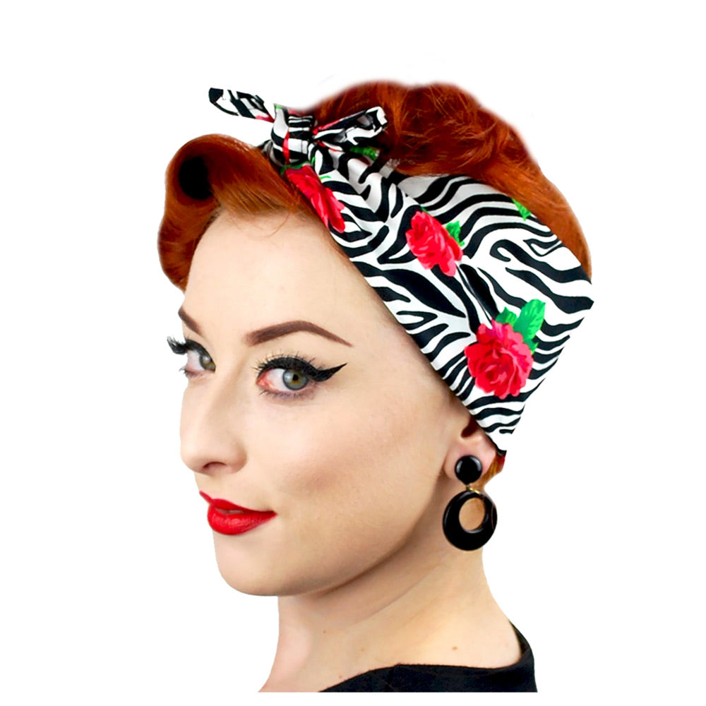 Zebra Print with Roses Bandana | The Inkabilly Emporium