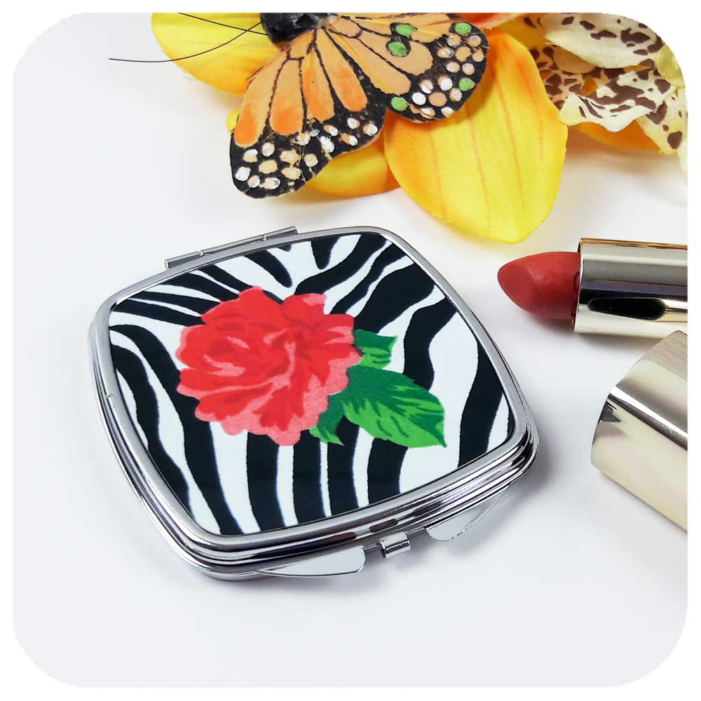 Zebra Rose Compact Mirror - part of our Zebra Rose Gift Set | The Inkabilly Emporium
