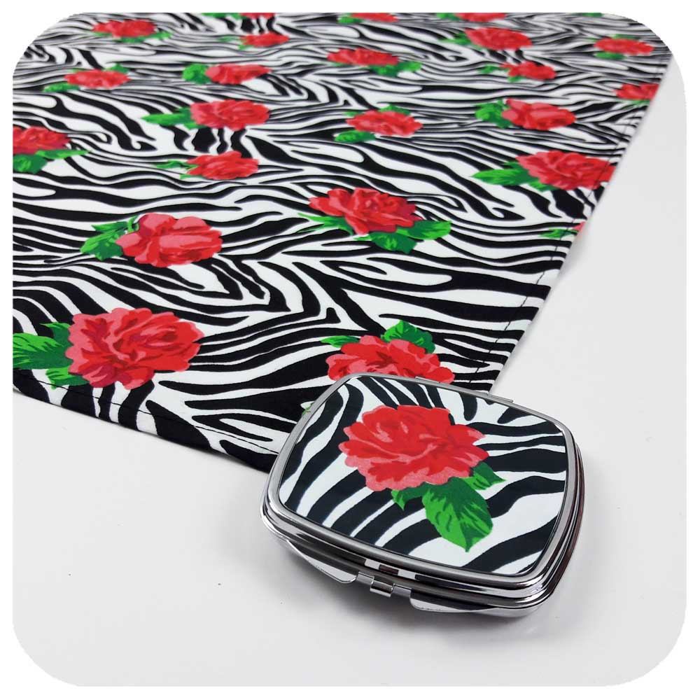 Zebra Print with Roses Gift Set -  matching compact mirror & head scarf | The Inkabilly Emporium