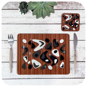Atomic Boomerang Placemat & Coaster Set, Black & White on Teak | The Inkabilly Emporium
