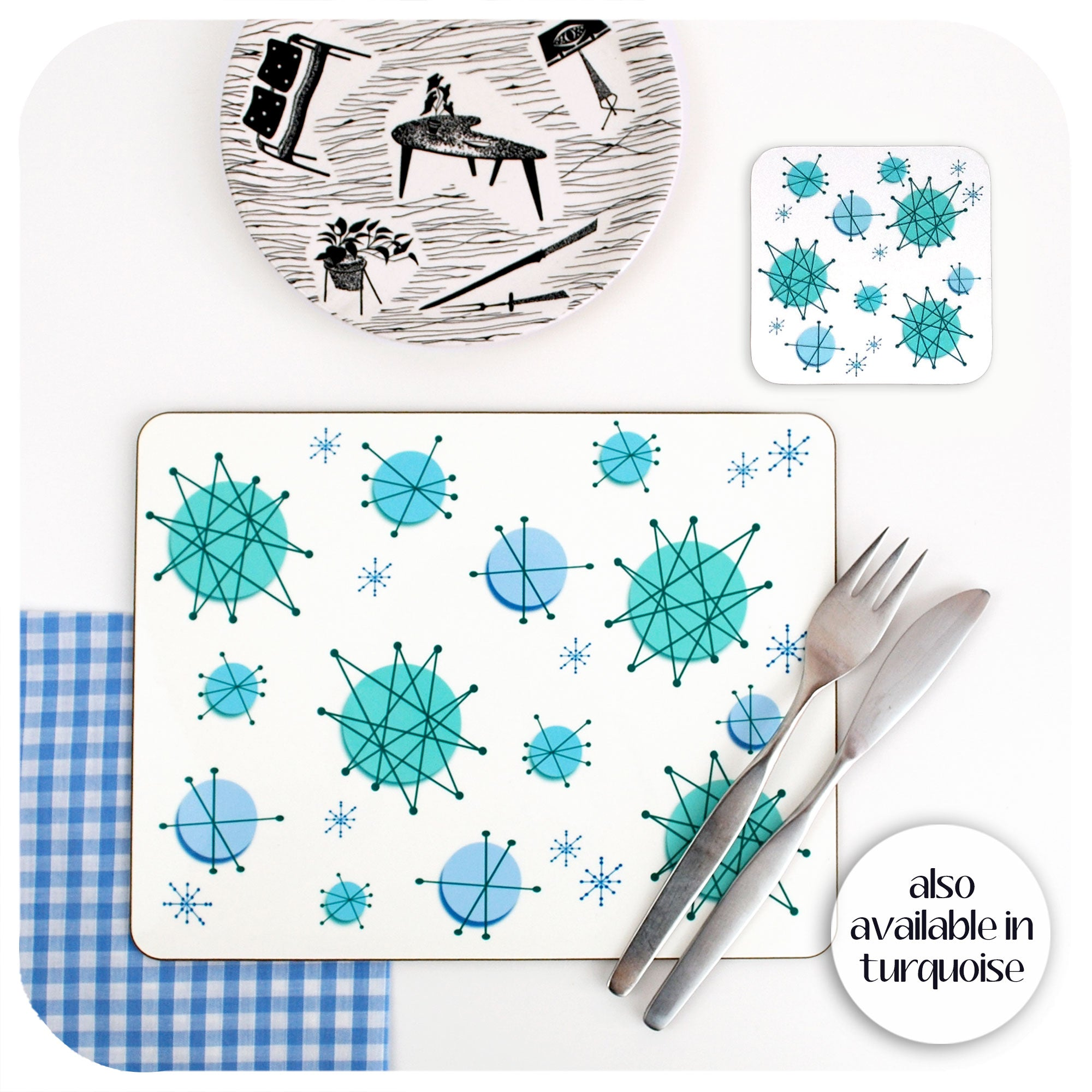 Turquoise Atomic Starburst Placemats and coasters available | The Inkabilly Emporium