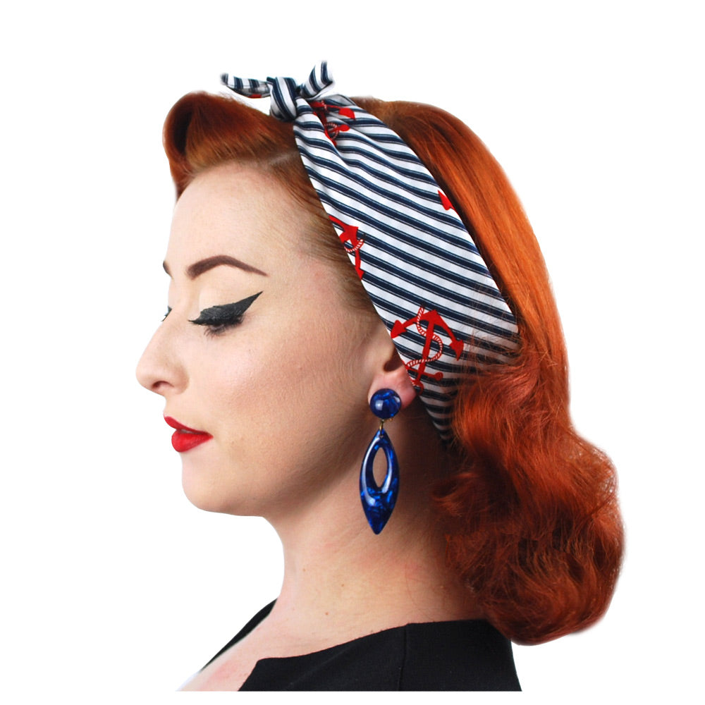 Nautical Bandana worn as an Alice band | The Inkabilly Emporium