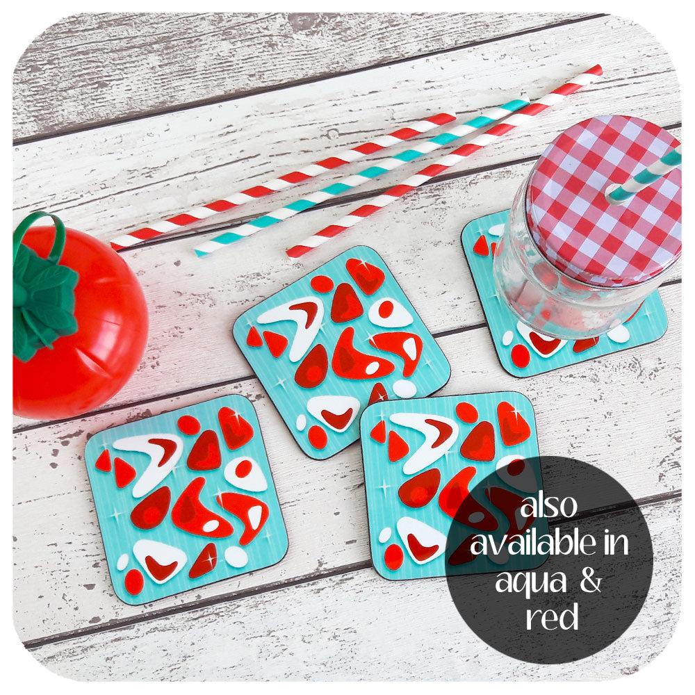 Aqua and Red Atomic Boomerang Coasters | The Inkabilly Emporium