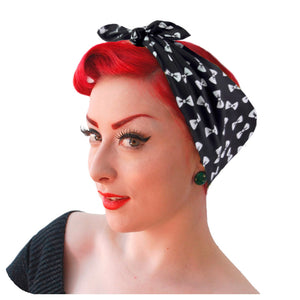 Black and White Bows bandana, modelled by Retro Pin Up model, Miss Jessica Holly | The Inkabilly Emporium
