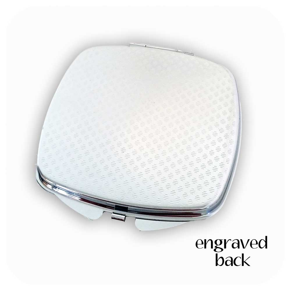 All our compact mirrors have engraved backs | The Inkabilly Emporium