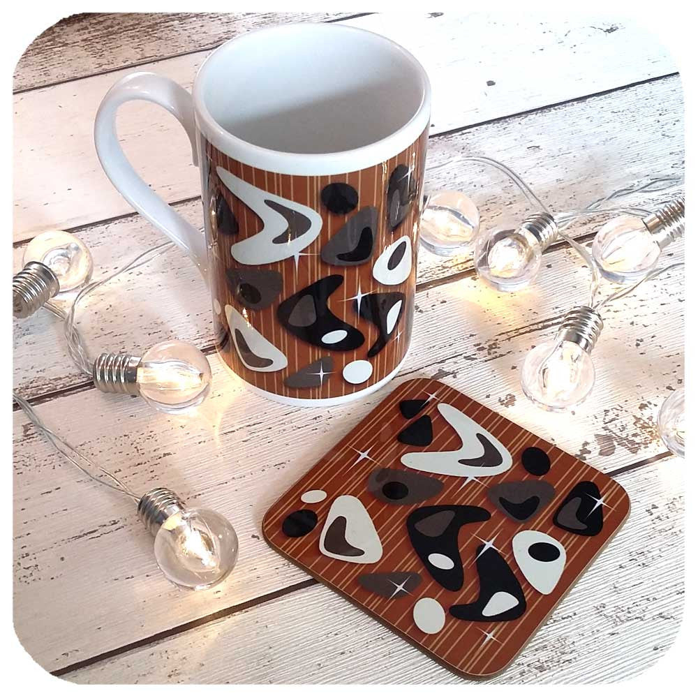 Atomic Boomerang Mug and matching coaster | The Inkabilly Emporium