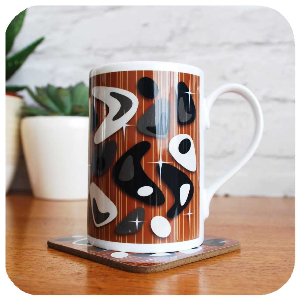 Atomic Boomerang Mug with coaster | The Inkabilly Emporium