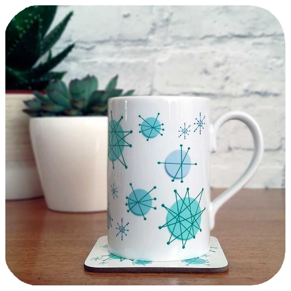 Franciscan Atomic starburst mug and coaster | The Inkabilly Emporium