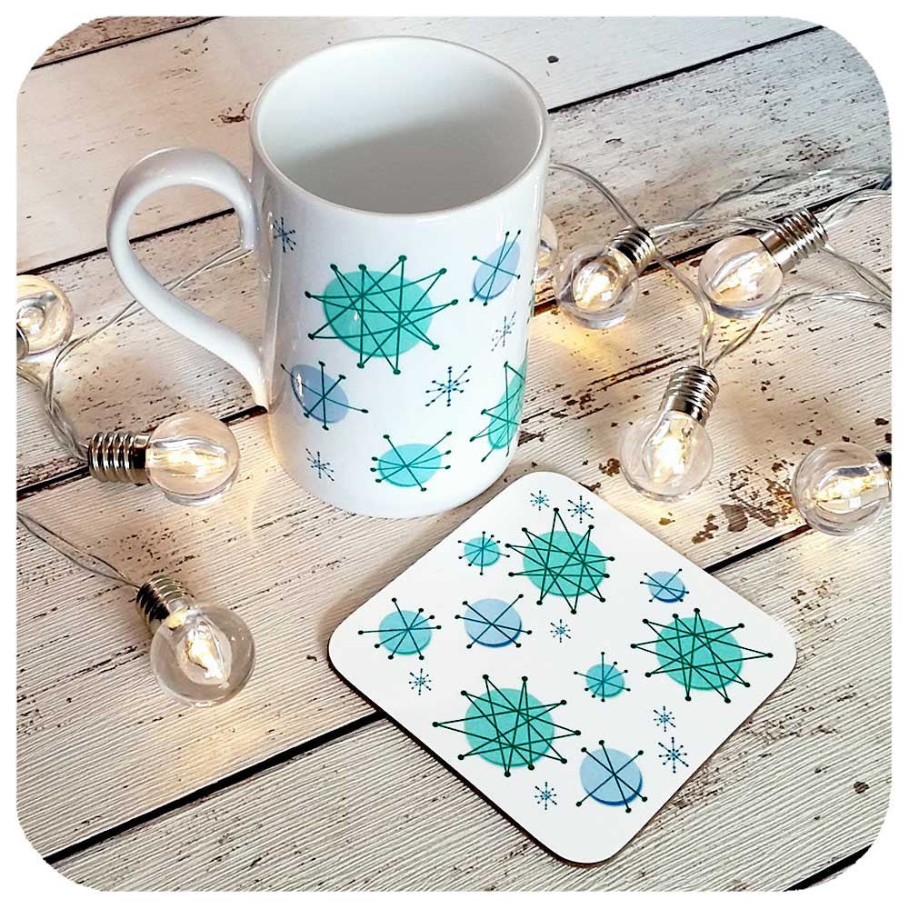 Atomic Starburst Mug and Coaster gift set | The Inkabilly Emporium