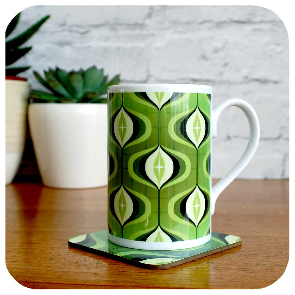 1970s inspired mug and coaster set