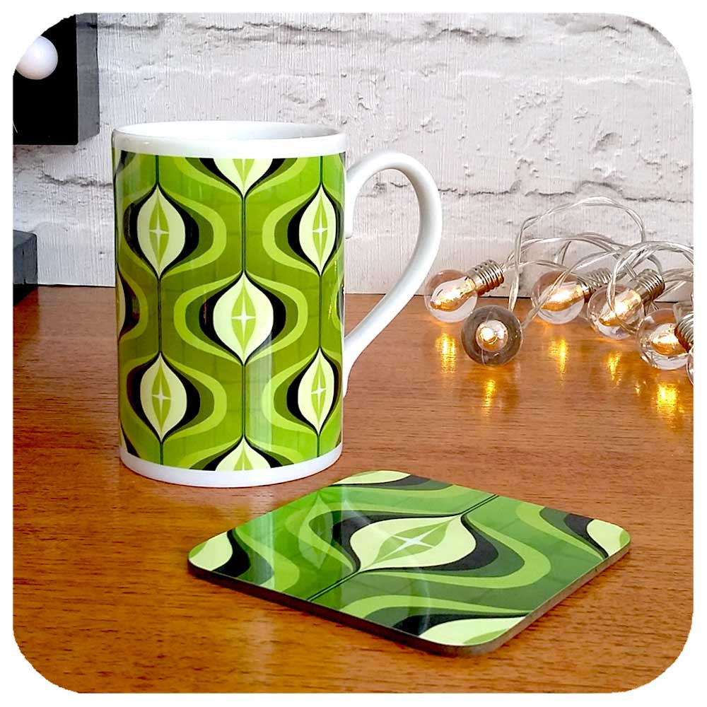 Retro Green 70s Mug and coaster set