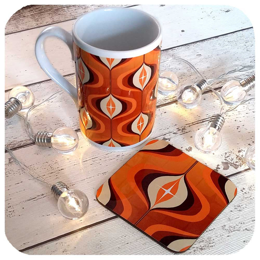Orange 70s Op Art Mug and Coaster gift set