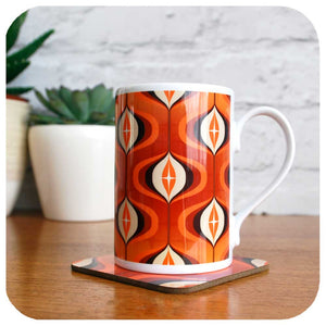 Retro 70s orange mug with matching coaster gift set