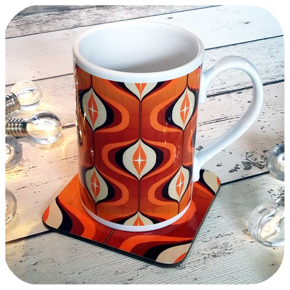 Retro Gift Set, Matching coffee mug and coaster