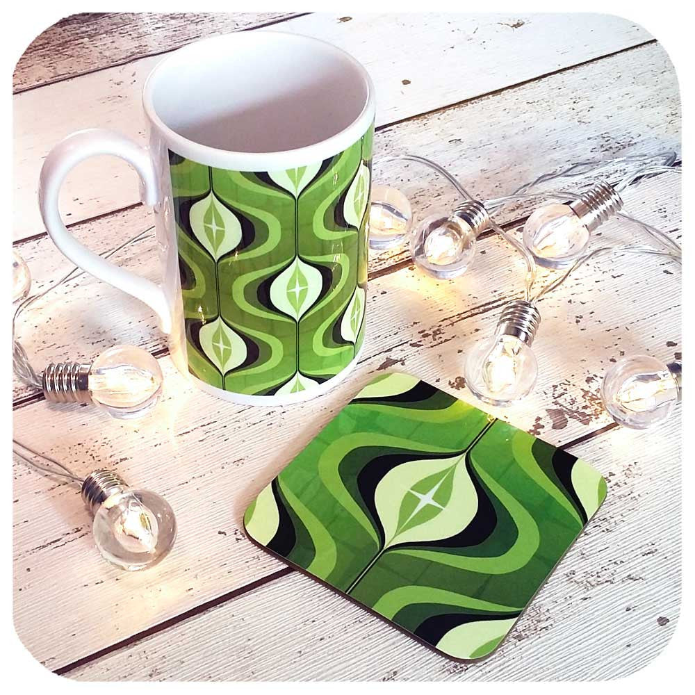 1970s Op Art Mug with matching coaster, gift set