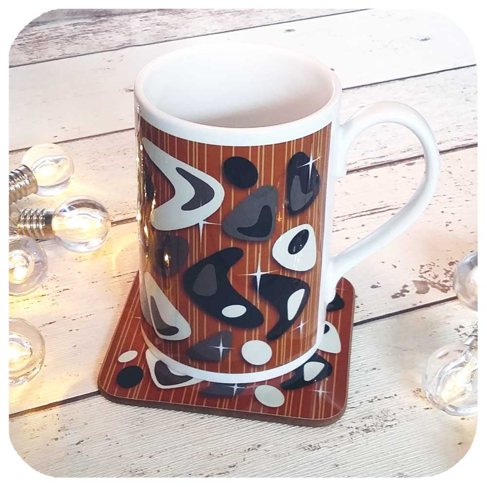 Mid Century Atomic Boomerang Gift Set, Mug and Matching Coaster  | The Inkabilly Emporium