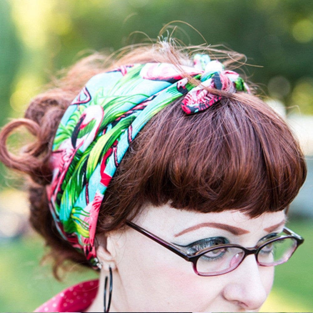 Flamingo head scarf as worn by Jessica from Chronically Vintage Blog. Photo by @acangiano  | The Inkabilly Emporium