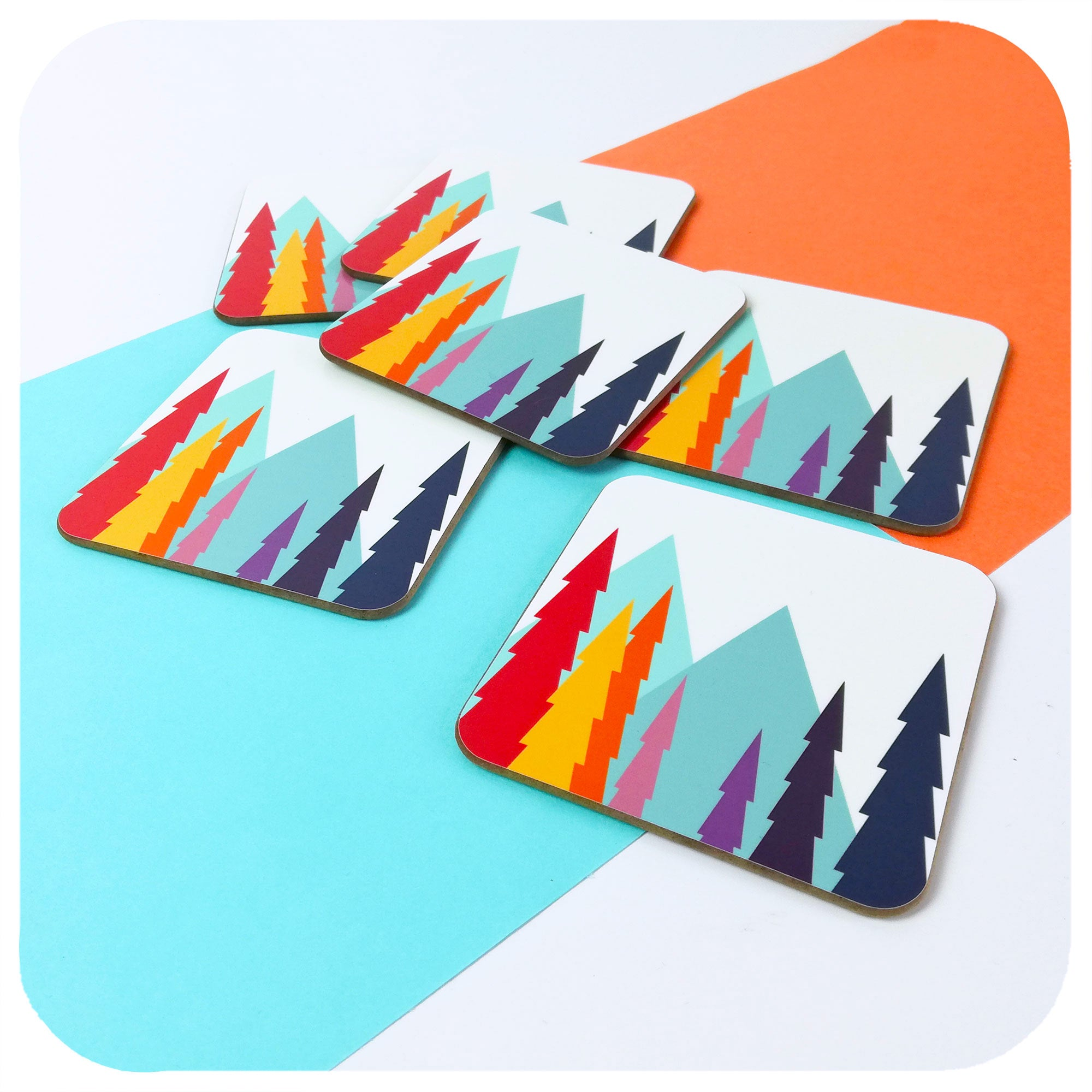 Colourful Scandinavian Landscape Coasters, set of 6