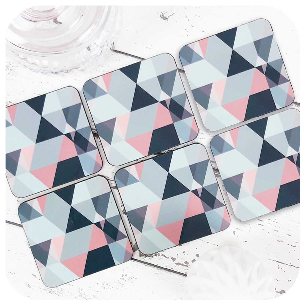 Blush Pink and Grey Geometric Coasters, set of 6 | The Inkabilly Emporium