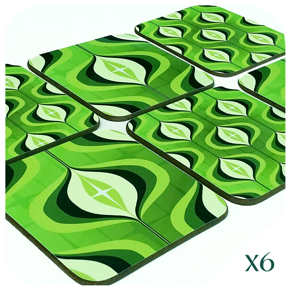 70s Op Art Coasters in Green, set of 6  | The Inkabilly Emporium