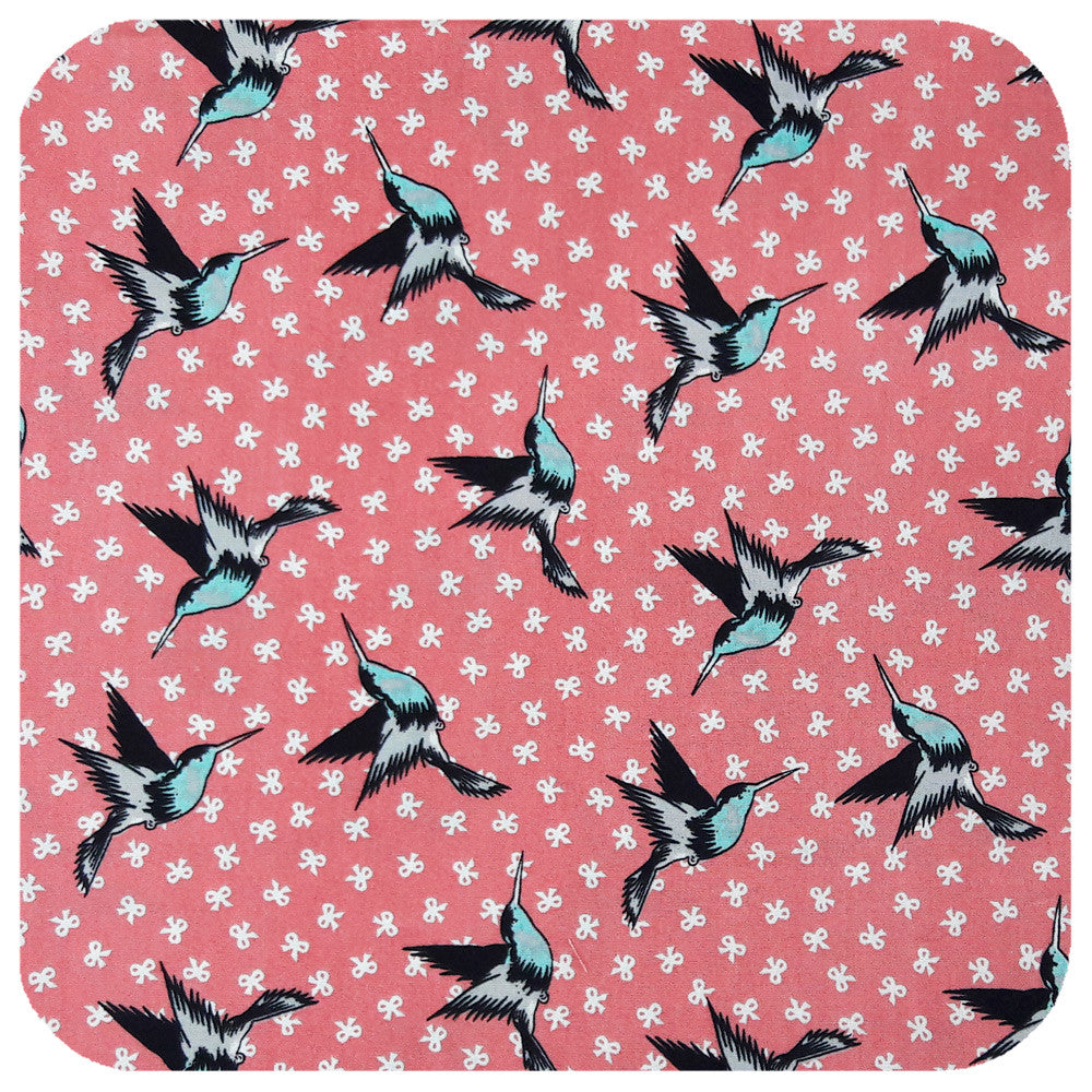 Hummingbirds on Dusty Pink print for retro head scarf | The Inkabilly Emporium
