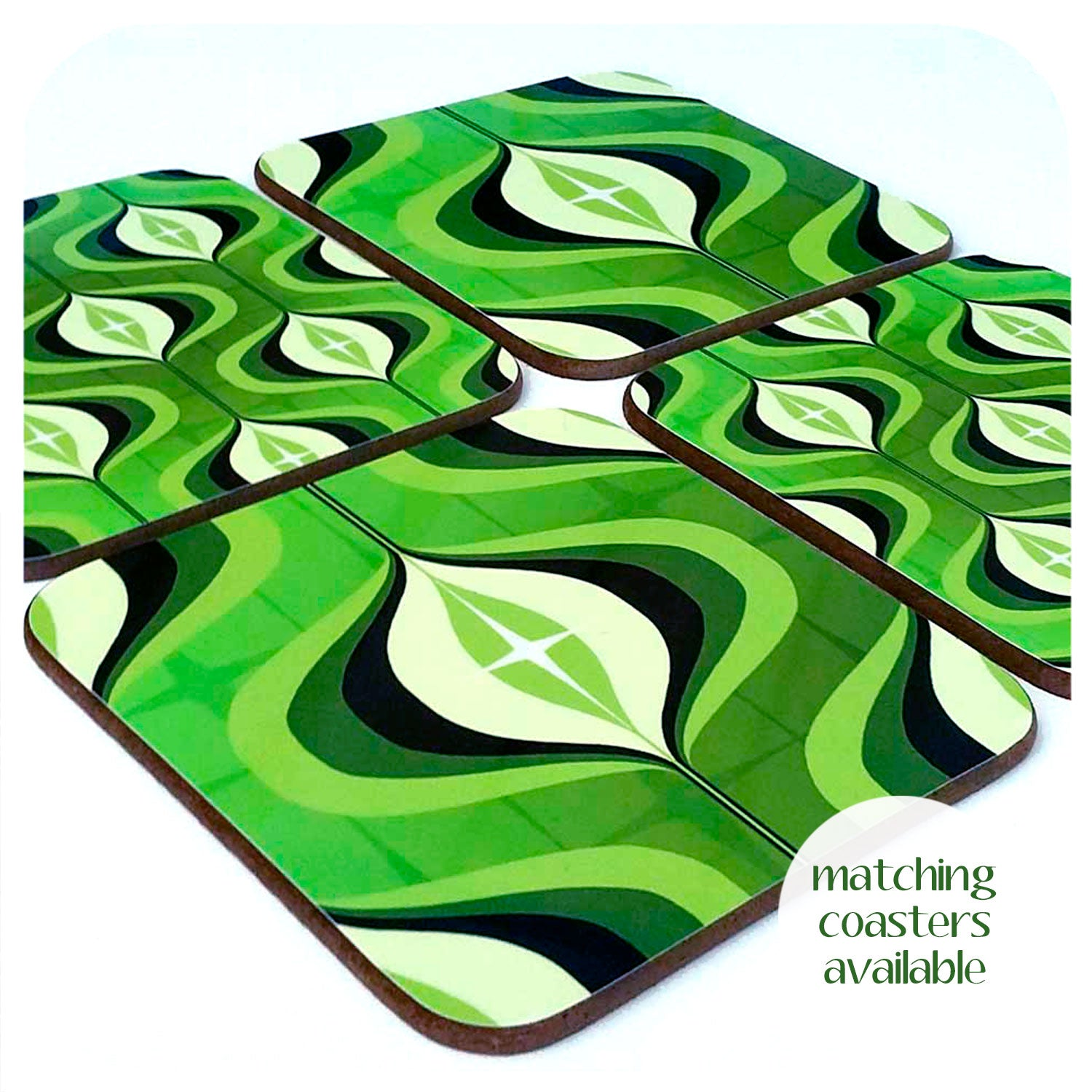 Matching 70s Green Op Art coasters available | The Inkabilly Emporium